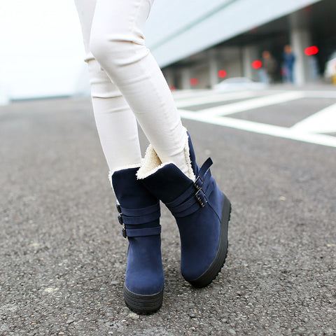 Suede Pure Color Round Toe Hidden Heel Metal Buckle Decoration Hemming Boots 7 Blue