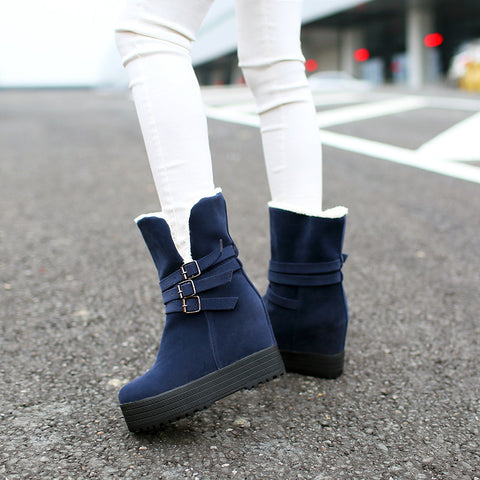 Suede Pure Color Round Toe Hidden Heel Metal Buckle Decoration Hemming Boots 7.5 Blue