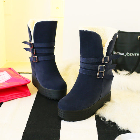 Suede Pure Color Round Toe Hidden Heel Metal Buckle Decoration Hemming Boots 6.5 Blue
