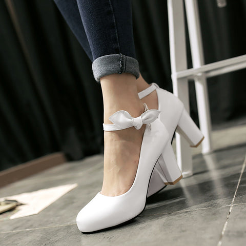 Suede Pure Color Round Toe High Block Heel Ankle Strap Bowtie Pumps 7 White
