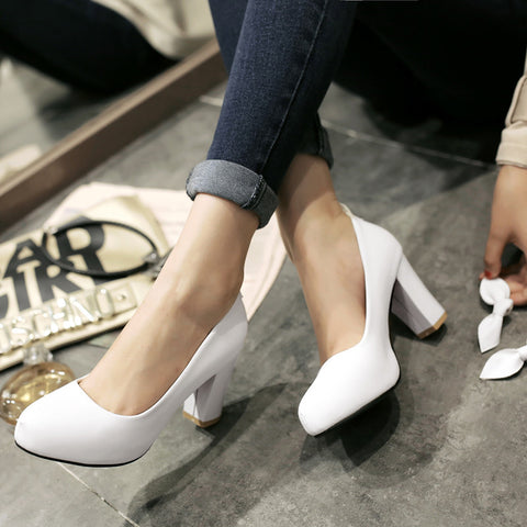 Suede Pure Color Round Toe High Block Heel Ankle Strap Bowtie Pumps 6.5 White
