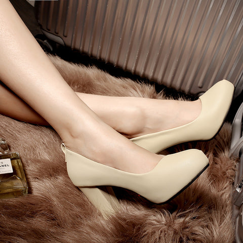 Suede Pure Color Round Toe High Block Heel Ankle Strap Bowtie Pumps 6.5 Beige