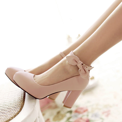 Suede Pure Color Round Toe High Block Heel Ankle Strap Bowtie Pumps 7.5 Pink