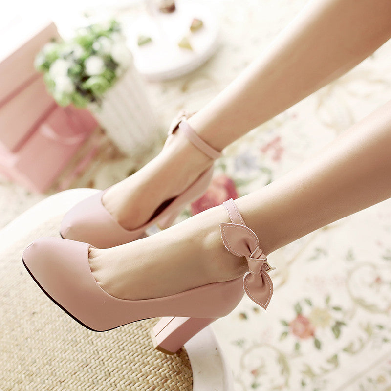 Suede Pure Color Round Toe High Block Heel Ankle Strap Bowtie Pumps 7 Pink