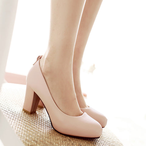 Suede Pure Color Round Toe High Block Heel Ankle Strap Bowtie Pumps 6.5 Pink