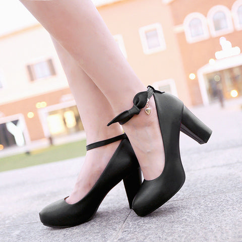 Suede Pure Color Round Toe High Block Heel Ankle Strap Bowtie Pumps 7.5 Black
