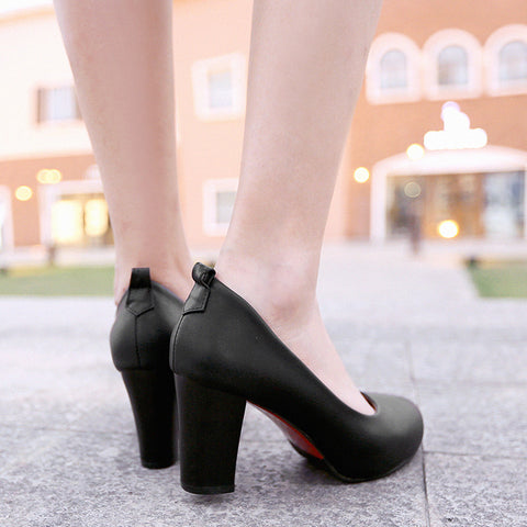 Suede Pure Color Round Toe High Block Heel Ankle Strap Bowtie Pumps 6.5 Black
