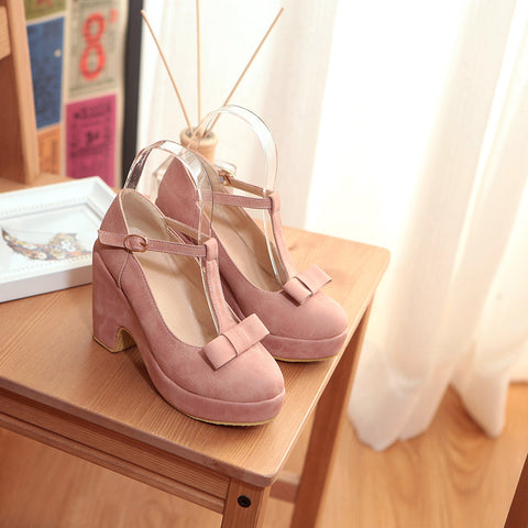 Suede Pure Color Round Toe High Block Heel T-strap Buckle Bowtie Pumps 6.5 Pink