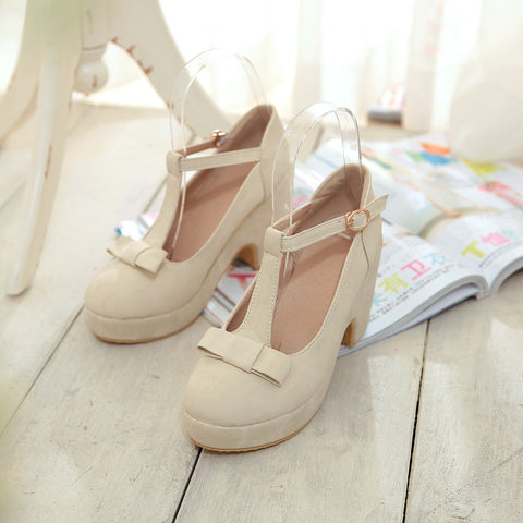 Suede Pure Color Round Toe High Block Heel T-strap Buckle Bowtie Pumps 6.5 Beige