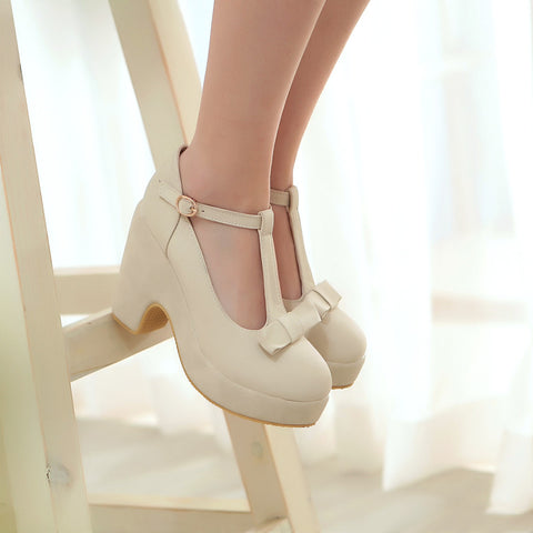 Suede Pure Color Round Toe High Block Heel T-strap Buckle Bowtie Pumps 7 Beige