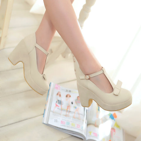 Suede Pure Color Round Toe High Block Heel T-strap Buckle Bowtie Pumps 7.5 Beige