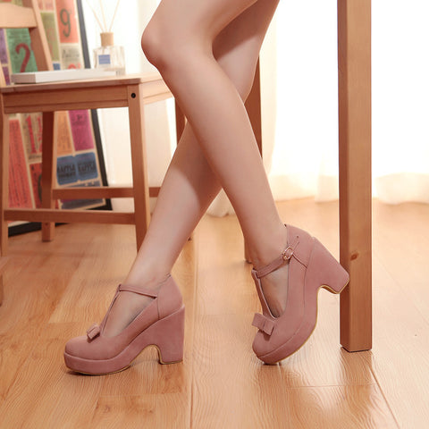 Suede Pure Color Round Toe High Block Heel T-strap Buckle Bowtie Pumps 7.5 Pink