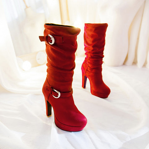 Suede Pure Color Round Toe High Heel Metal Embellished Knee High Slouch Boots 9 Red
