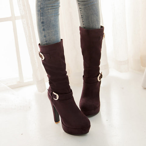 Suede Pure Color Round Toe High Heel Metal Embellished Knee High Slouch Boots 9.5 Bronze