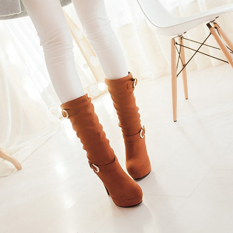 Suede Pure Color Round Toe High Heel Metal Embellished Knee High Slouch Boots 9.5 Yellow