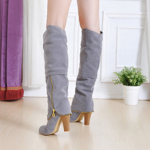 Suede Pure Color Round Toe Metal Decoration Block Knee High Boots 9 Gray