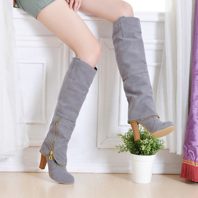 Suede Pure Color Round Toe Metal Decoration Block Knee High Boots 9.5 Gray