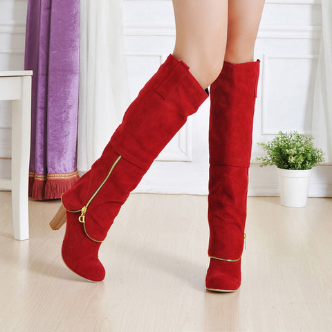 Suede Pure Color Round Toe Metal Decoration Block Knee High Boots 9.5 Red