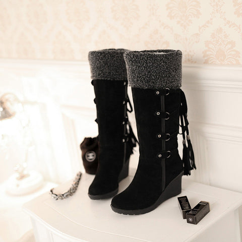 Suede Pure Color Round Toe Wedge Heel Lace Up Embellished Velvet Mid-calf Boots 9 Black