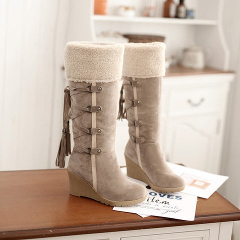 Suede Pure Color Round Toe Wedge Heel Lace Up Embellished Velvet Mid-calf Boots 9 Beige