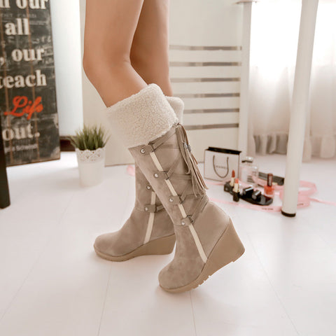 Suede Pure Color Round Toe Wedge Heel Lace Up Embellished Velvet Mid-calf Boots 9.5 Beige
