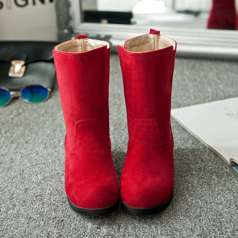 Suede Pure Color Simple Round Toe Flat Heel Short Boots 9 Red