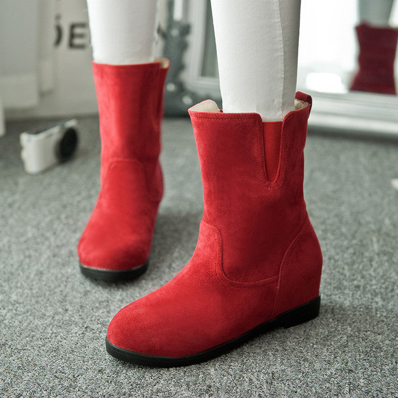 Suede Pure Color Simple Round Toe Flat Heel Short Boots 9.5 Red