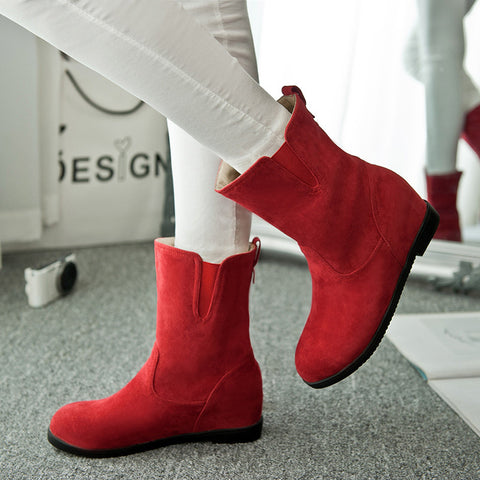 Suede Pure Color Simple Round Toe Flat Heel Short Boots 8 Red