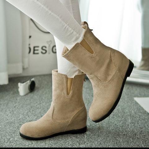 Suede Pure Color Simple Round Toe Flat Heel Short Boots 9.5 Camel