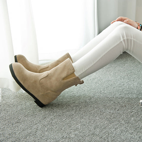 Suede Pure Color Simple Round Toe Flat Heel Short Boots 8.5 Camel