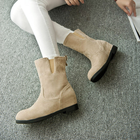 Suede Pure Color Simple Round Toe Flat Heel Short Boots 8 Camel