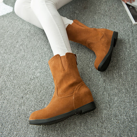 Suede Pure Color Simple Round Toe Flat Heel Short Boots 8.5 Brown