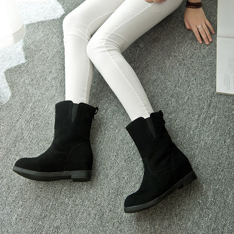 Suede Pure Color Simple Round Toe Flat Heel Short Boots 8 Black