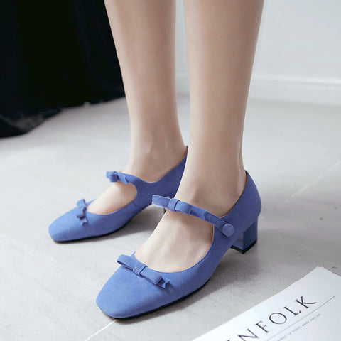 Suede Square Toe Block Heel Bowtie Ankle Strap Mary Janes 7 Blue