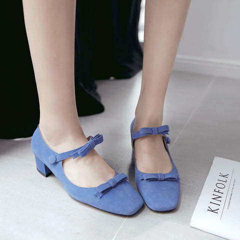 Suede Square Toe Block Heel Bowtie Ankle Strap Mary Janes 7.5 Blue