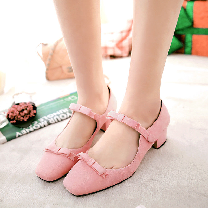 Suede Square Toe Block Heel Bowtie Ankle Strap Mary Janes 7 Pink