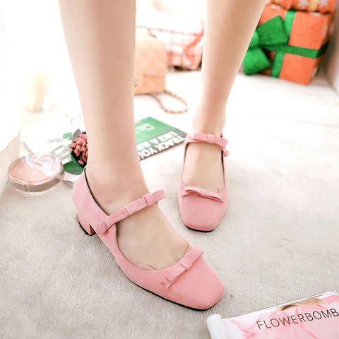 Suede Square Toe Block Heel Bowtie Ankle Strap Mary Janes 7.5 Pink