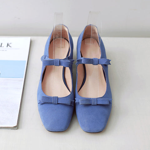Suede Square Toe Block Heel Bowtie Ankle Strap Mary Janes 6.5 Blue