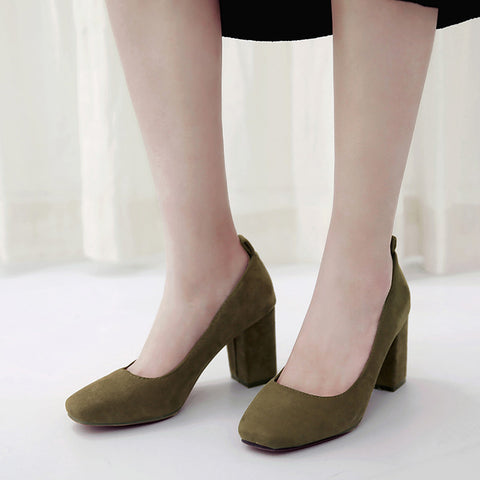 Suede Square Toe Block Heel Loafers 8.5 Dark green