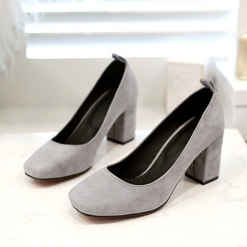 Suede Square Toe Block Heel Loafers 9.5 Grey