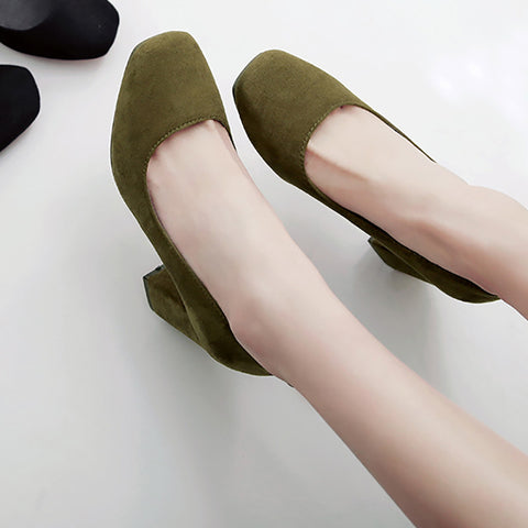 Suede Square Toe Block Heel Loafers 9 Dark green