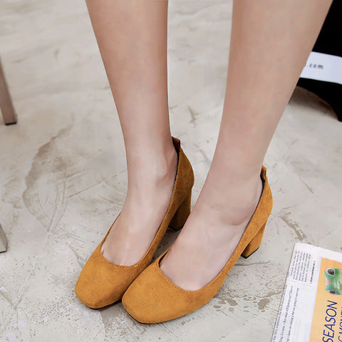 Suede Square Toe Block Heel Loafers 9 Yellow