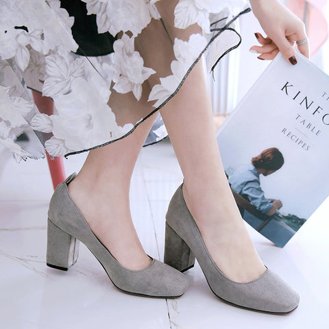 Suede Square Toe Block Heel Loafers 9 Grey