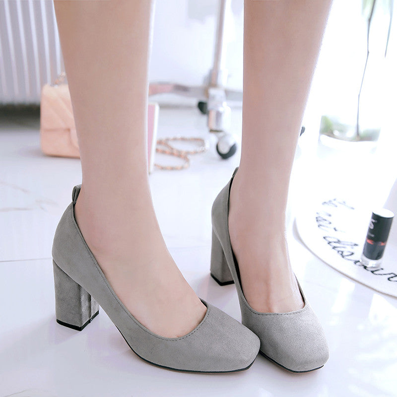 Suede Square Toe Block Heel Loafers 8.5 Grey