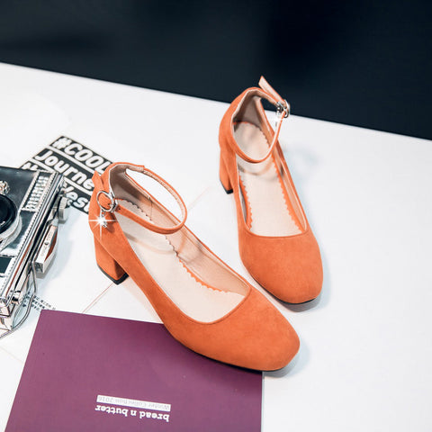 Suede Square Toe Block Heel Crystal Pendant Ankle Strap Pumps 9 Orange