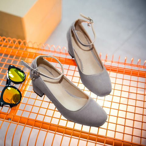 Suede Square Toe Block Heel Crystal Pendant Ankle Strap Pumps 9 Grey