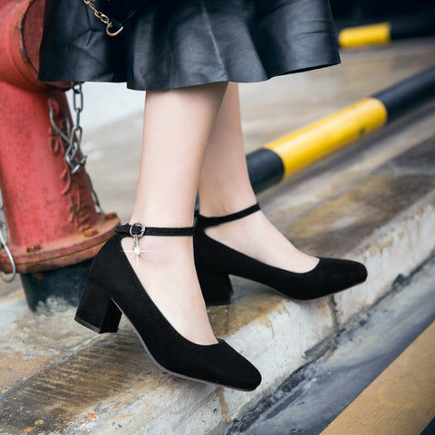 Suede Square Toe Block Heel Crystal Pendant Ankle Strap Pumps 9.5 Black