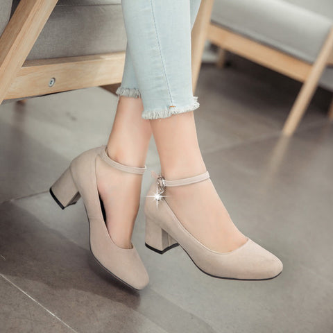 Suede Square Toe Block Heel Crystal Pendant Ankle Strap Pumps 9.5 Beige
