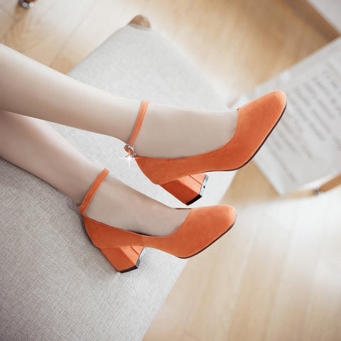 Suede Square Toe Block Heel Crystal Pendant Ankle Strap Pumps 9.5 Orange