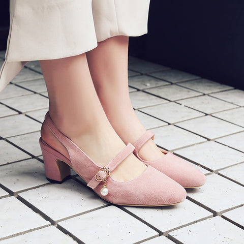 Suede Square Toe Block Heel Pearl Belt Slingback Sandals 8.5 Pink